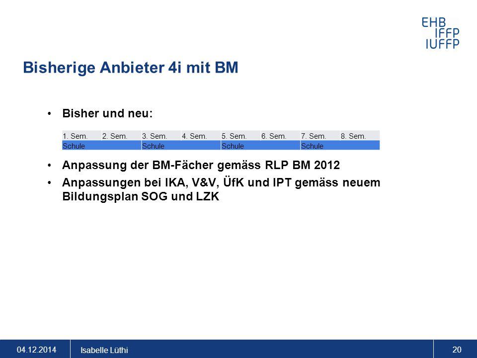 Bisherige Anbieter 4i mit BM