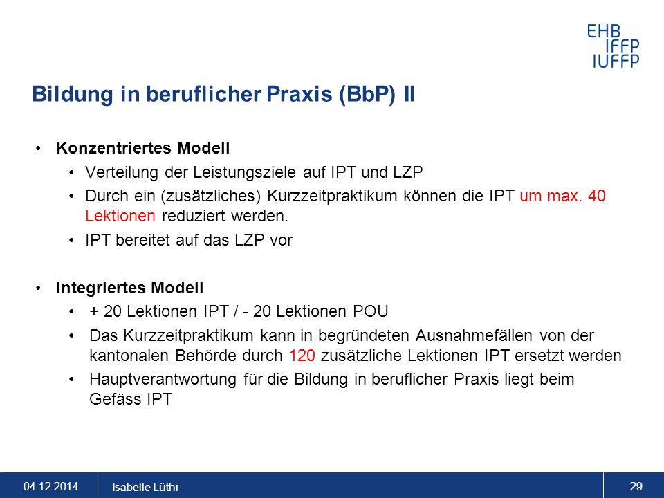 Bildung in beruflicher Praxis (BbP) II