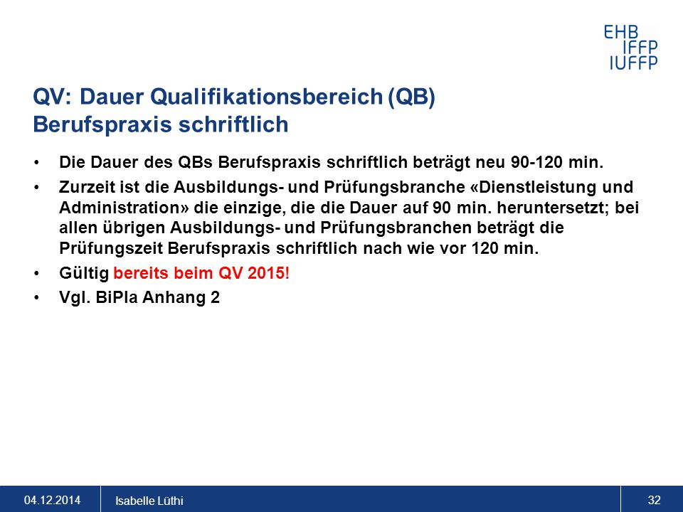 QV: Dauer Qualifikationsbereich (QB) Berufspraxis schriftlich