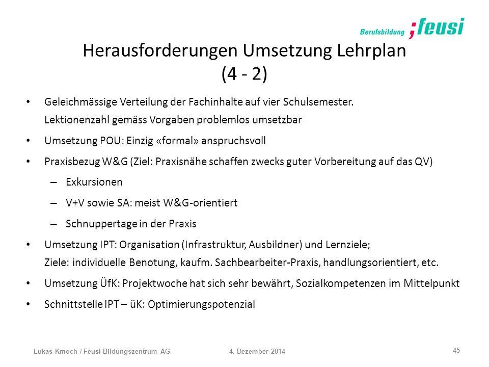 Herausforderungen Umsetzung Lehrplan (4 - 2)