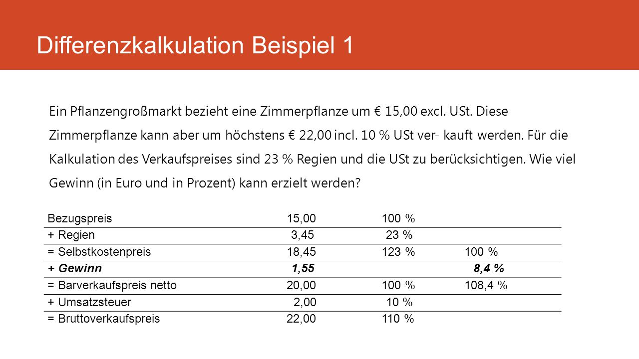 Differenzkalkulation Beispiel 1