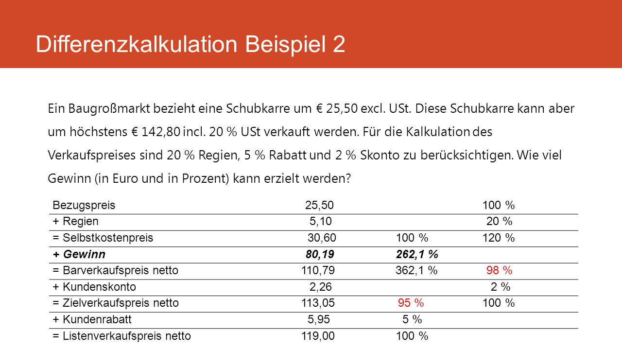 Differenzkalkulation Beispiel 2