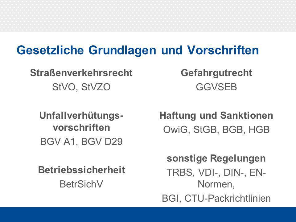 """§ 22 UVV """"Fahrzeuge (BGV D29)"""
