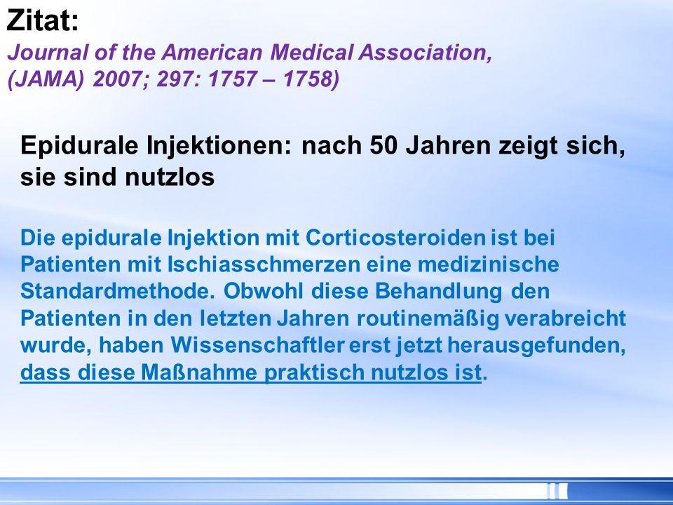 Epidurale Injektionen: nach 50 Jahren zeigt sich, sie sind nutzlos