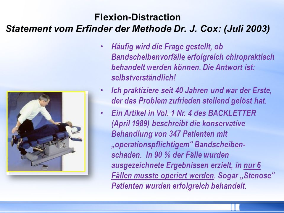 Flexion-Distraction Statement vom Erfinder der Methode Dr. J