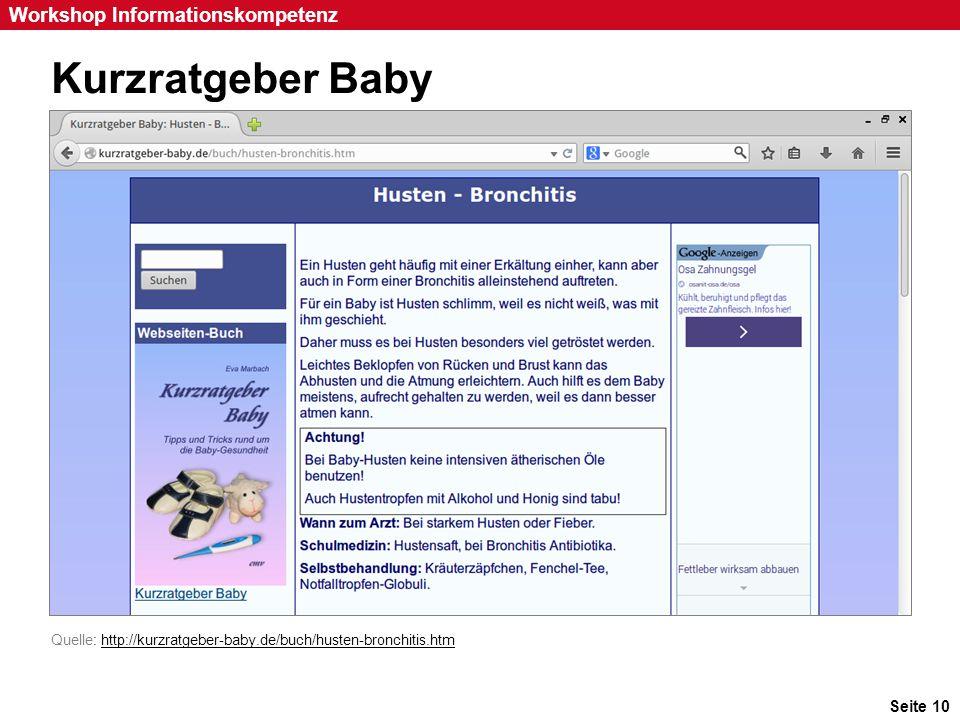 Kurzratgeber Baby Inhalt des Ratschlags: