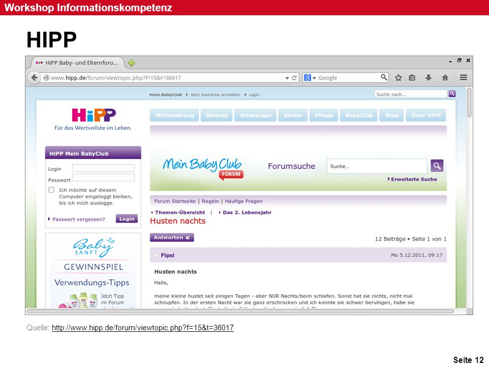 HIPP Inhalt des Ratschlags: