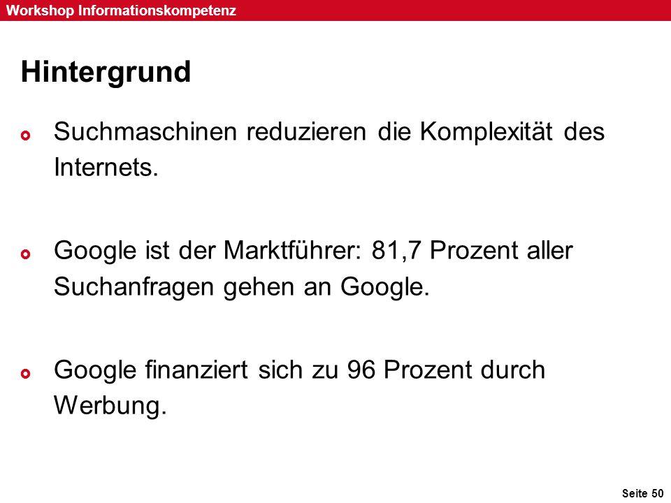 Hintergrund Suchmaschinen reduzieren die Komplexität des Internets.