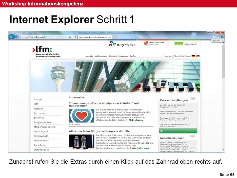 Internet Explorer Schritt 1