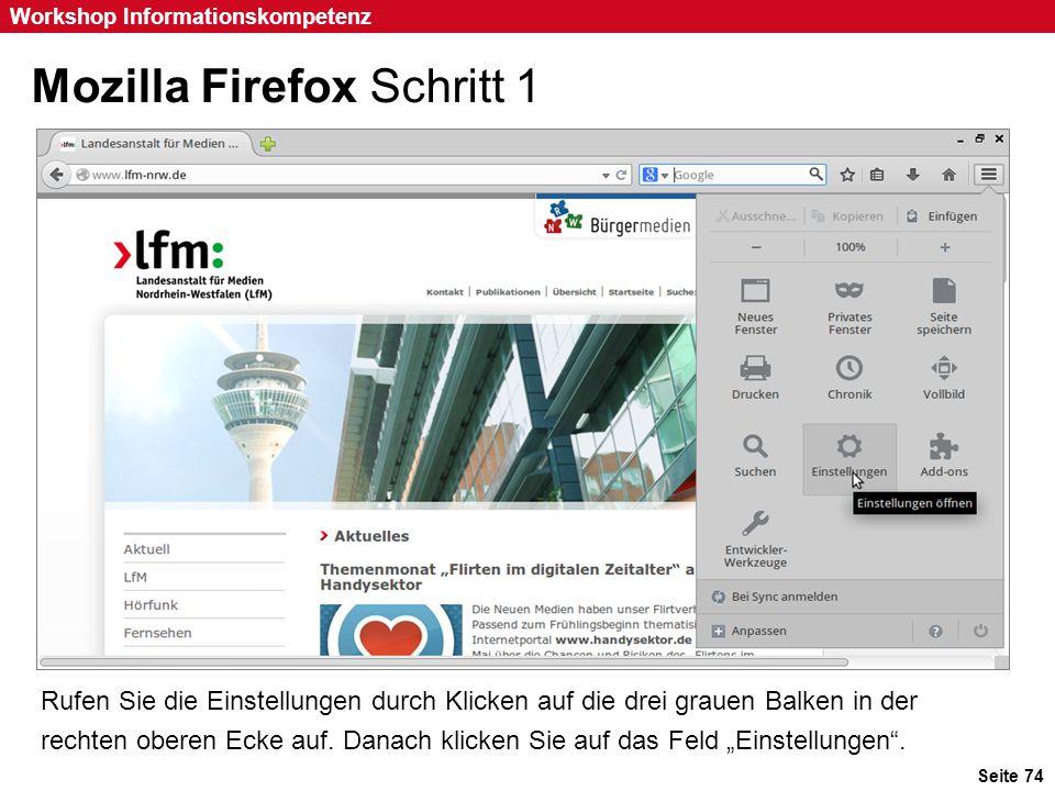 Mozilla Firefox Schritt 1