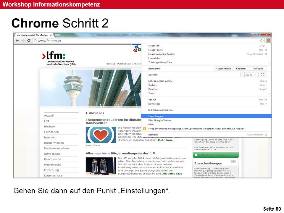 """Chrome Schritt 2 Gehen Sie dann auf den Punkt """"Einstellungen ."""