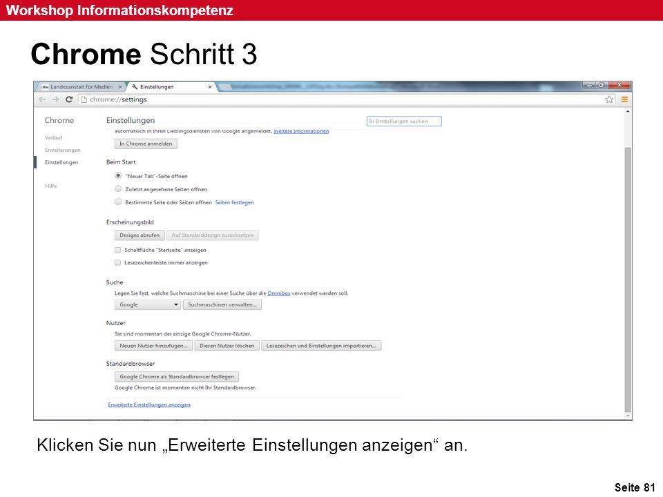 """Chrome Schritt 3 Klicken Sie nun """"Erweiterte Einstellungen anzeigen an. Klicken Sie nun """"Erweiterte Einstellungen anzeigen an."""