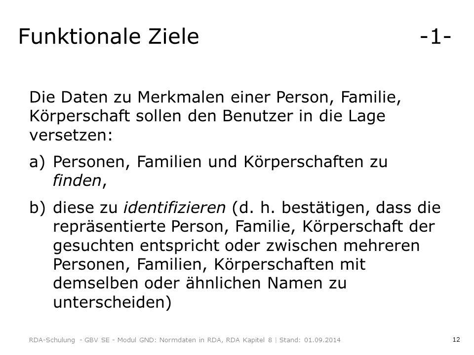 Funktionale Ziele -1- Die Daten zu Merkmalen einer Person, Familie, Körperschaft sollen den Benutzer in die Lage versetzen: