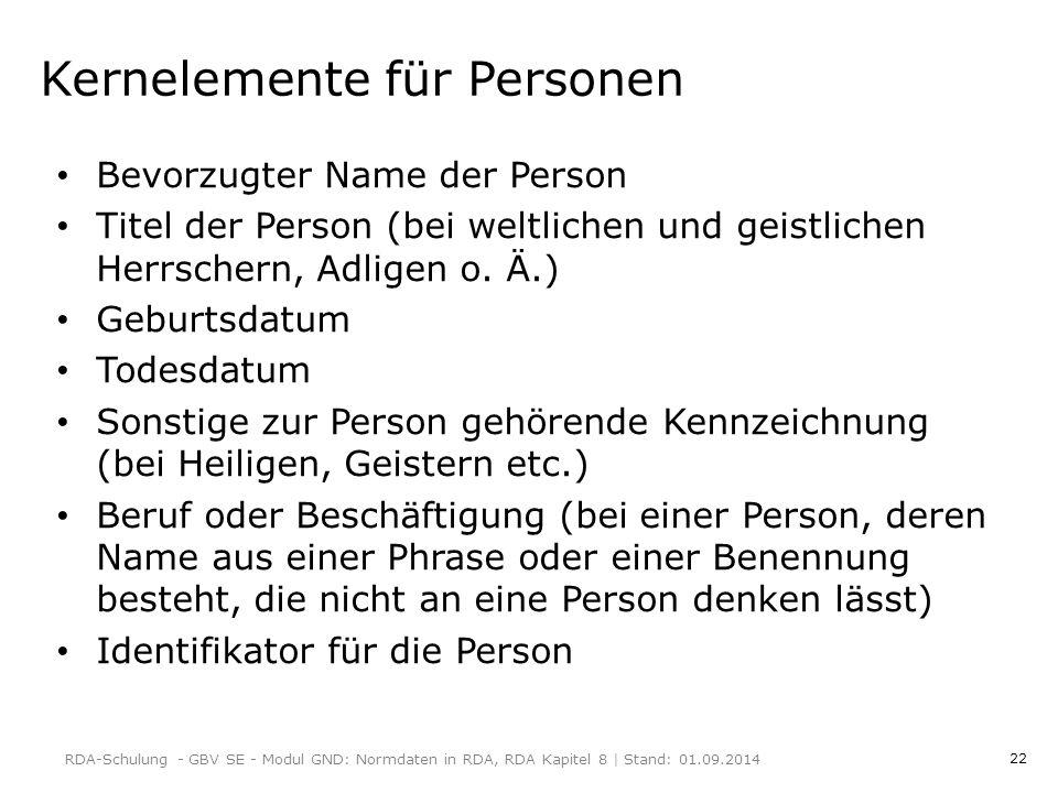 Kernelemente für Personen