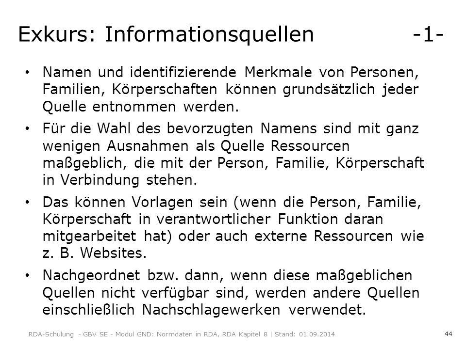 Exkurs: Informationsquellen -1-