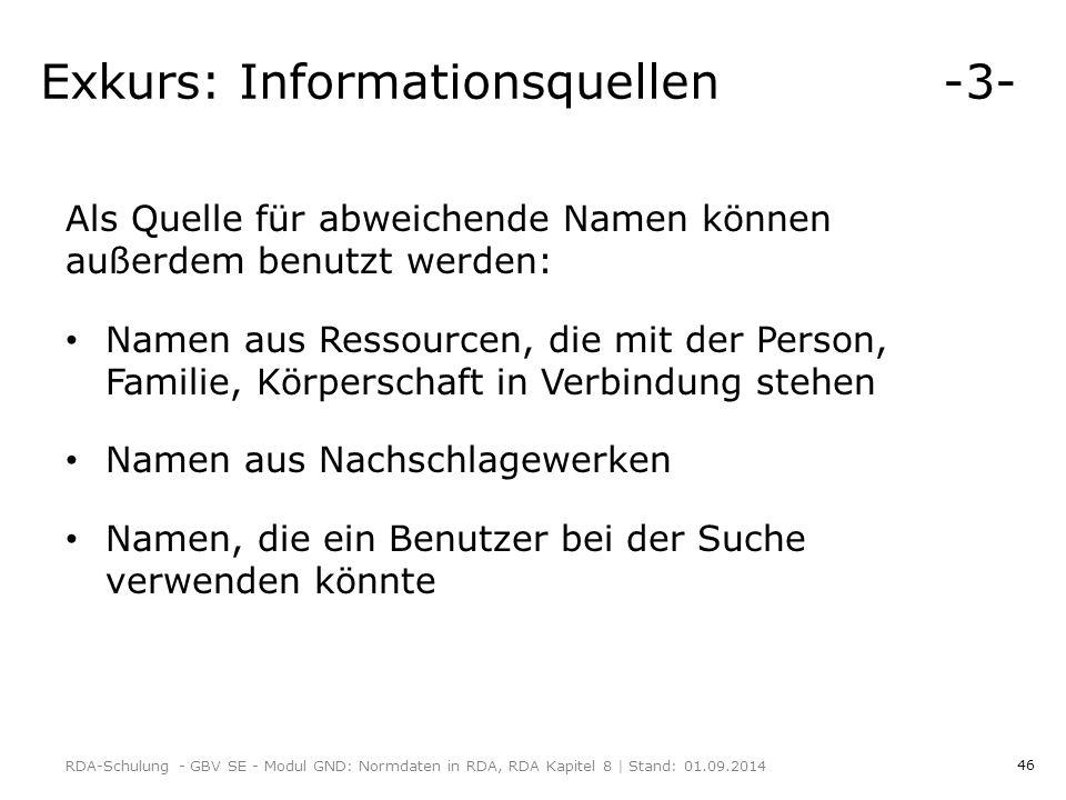 Exkurs: Informationsquellen -3-