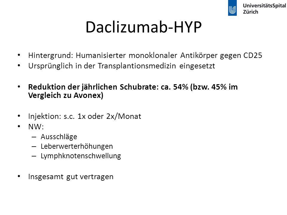 Daclizumab-HYP Hintergrund: Humanisierter monoklonaler Antikörper gegen CD25. Ursprünglich in der Transplantionsmedizin eingesetzt.
