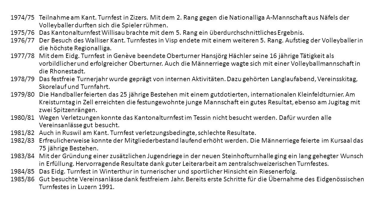 1974/75. Teilnahme am Kant. Turnfest in Zizers. Mit dem 2