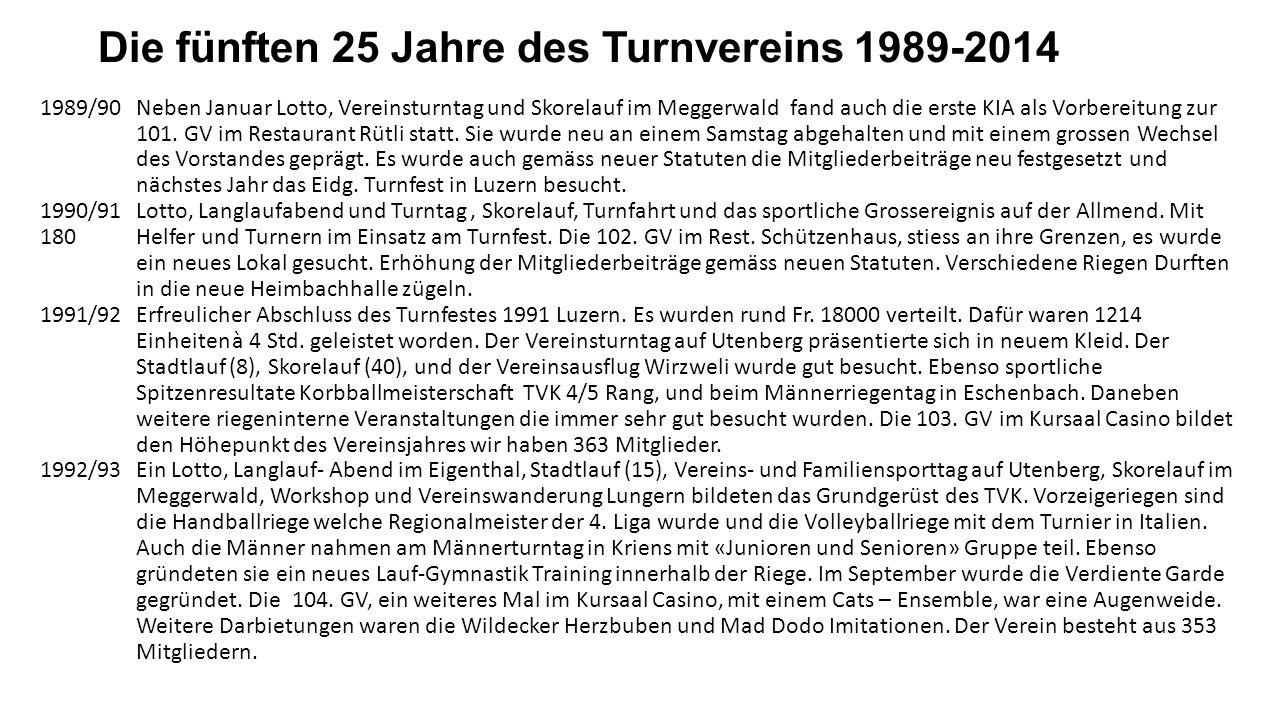 Die fünften 25 Jahre des Turnvereins 1989-2014