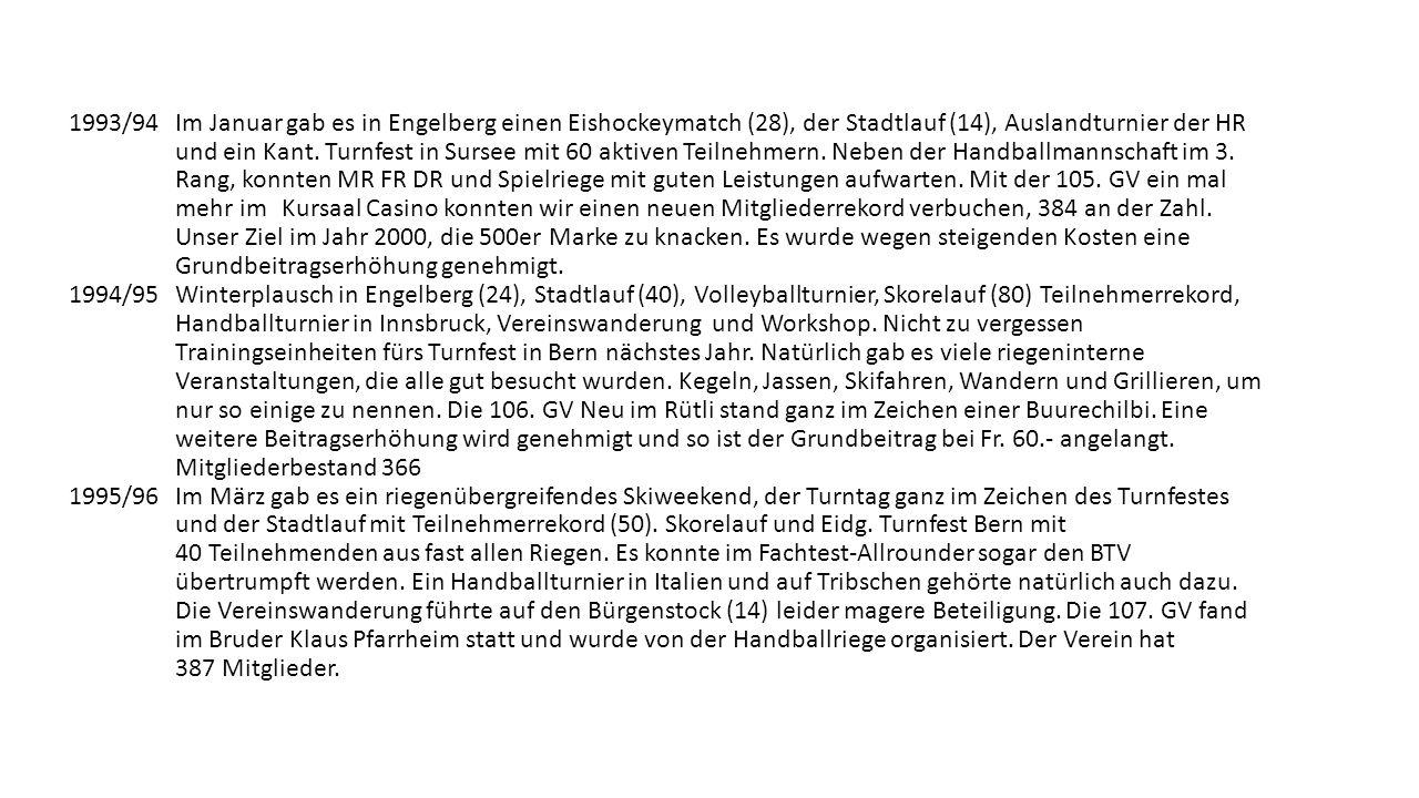 1993/94 Im Januar gab es in Engelberg einen Eishockeymatch (28), der Stadtlauf (14), Auslandturnier der HR und ein Kant.