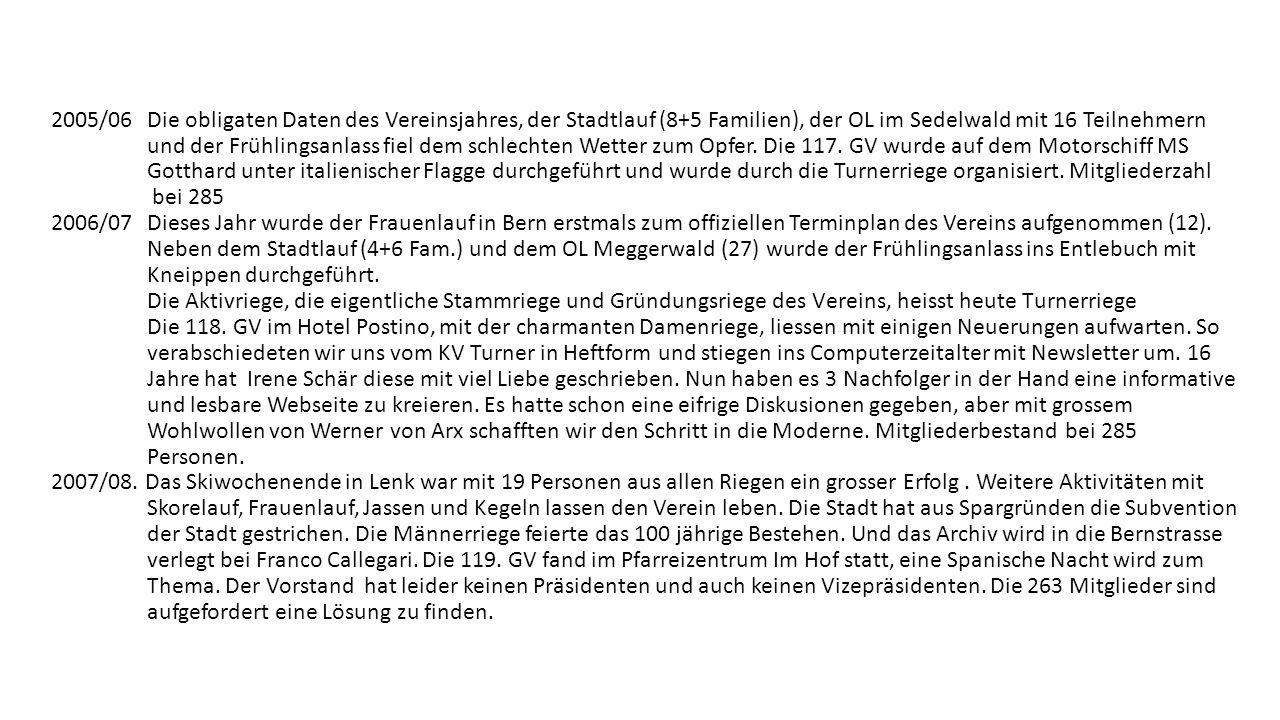 2005/06 Die obligaten Daten des Vereinsjahres, der Stadtlauf (8+5 Familien), der OL im Sedelwald mit 16 Teilnehmern und der Frühlingsanlass fiel dem schlechten Wetter zum Opfer.