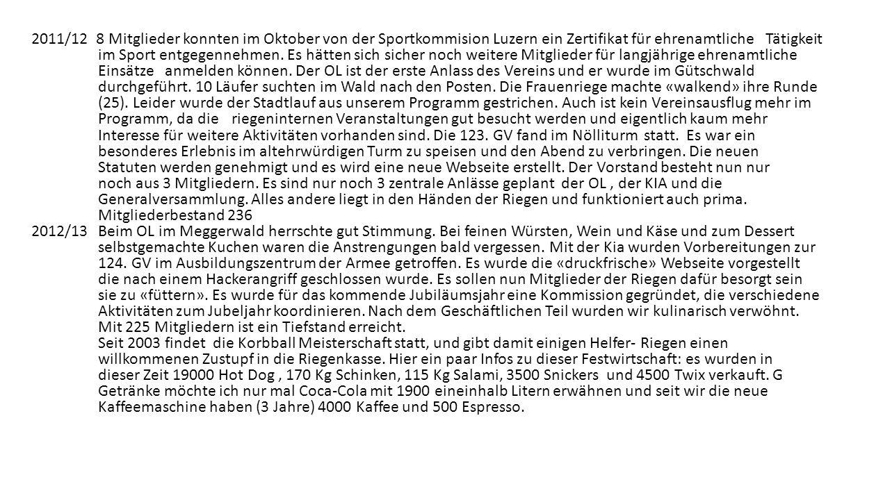 2011/12 8 Mitglieder konnten im Oktober von der Sportkommision Luzern ein Zertifikat für ehrenamtliche Tätigkeit im Sport entgegennehmen.