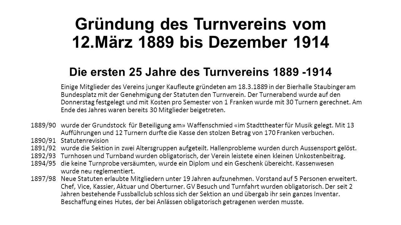 Gründung des Turnvereins vom 12
