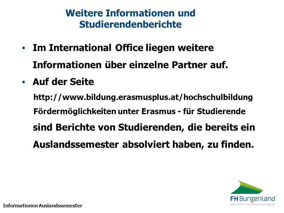 Weitere Informationen und Studierendenberichte