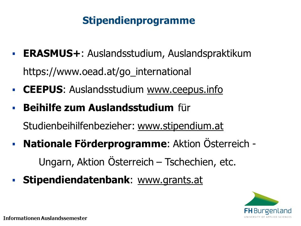 CEEPUS: Auslandsstudium www.ceepus.info