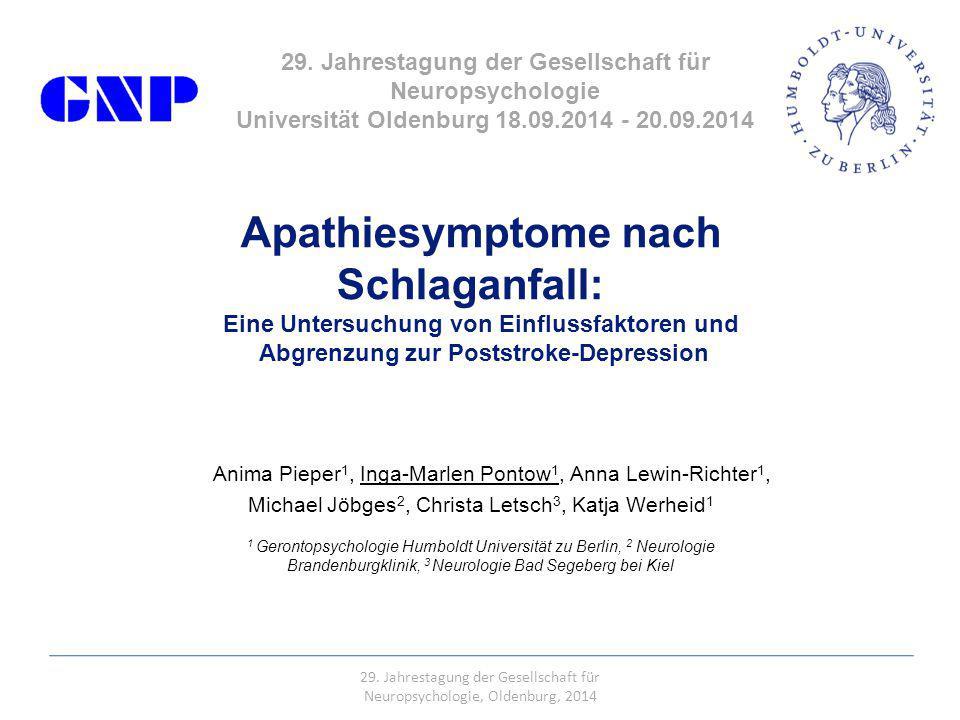 Apathiesymptome nach Schlaganfall: