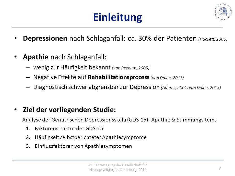 Einleitung Depressionen nach Schlaganfall: ca. 30% der Patienten (Hackett, 2005) Apathie nach Schlaganfall: