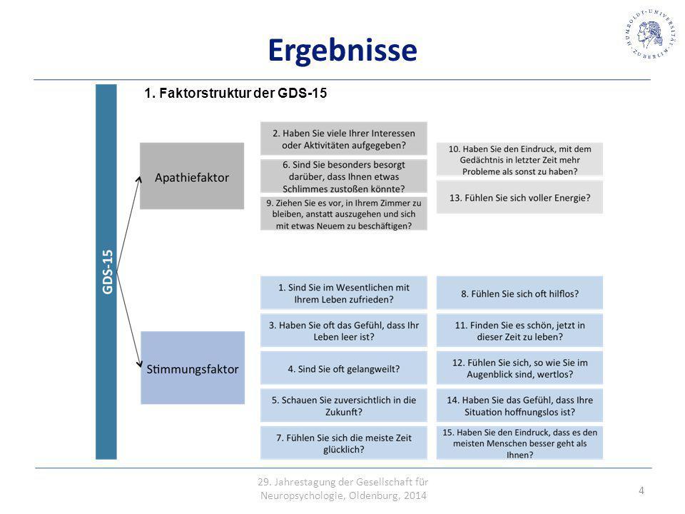 Erhöhte Mortalität Ergebnisse 1. Faktorstruktur der GDS-15