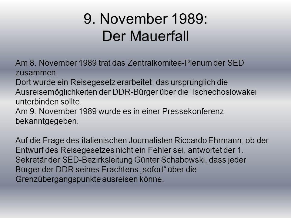 9. November 1989: Der Mauerfall