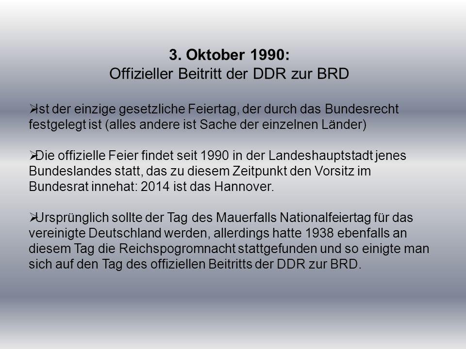 Offizieller Beitritt der DDR zur BRD