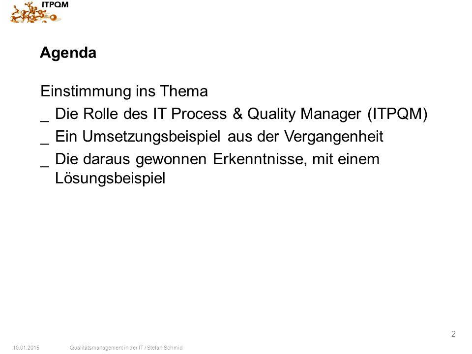 Agenda Einstimmung ins Thema. Die Rolle des IT Process & Quality Manager (ITPQM) Ein Umsetzungsbeispiel aus der Vergangenheit.