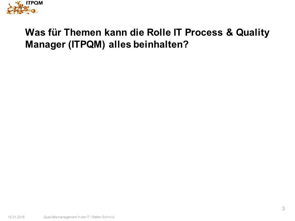 Was für Themen kann die Rolle IT Process & Quality Manager (ITPQM) alles beinhalten