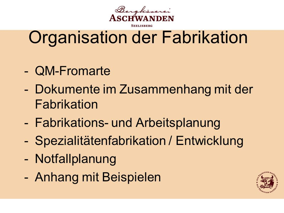 Organisation der Fabrikation