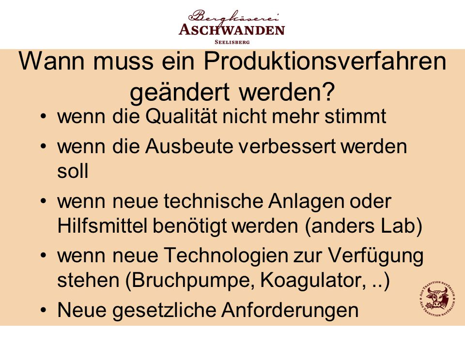 Wann muss ein Produktionsverfahren geändert werden