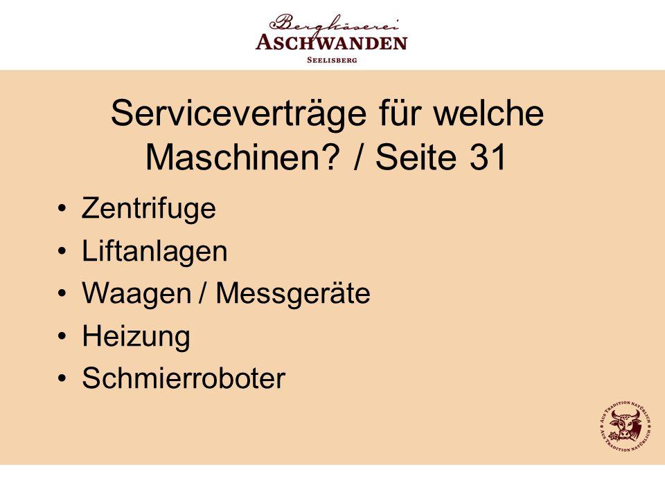Serviceverträge für welche Maschinen / Seite 31