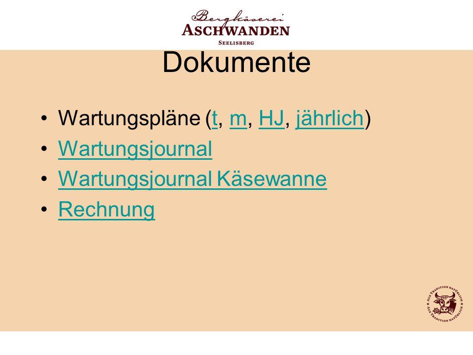 Dokumente Wartungspläne (t, m, HJ, jährlich) Wartungsjournal