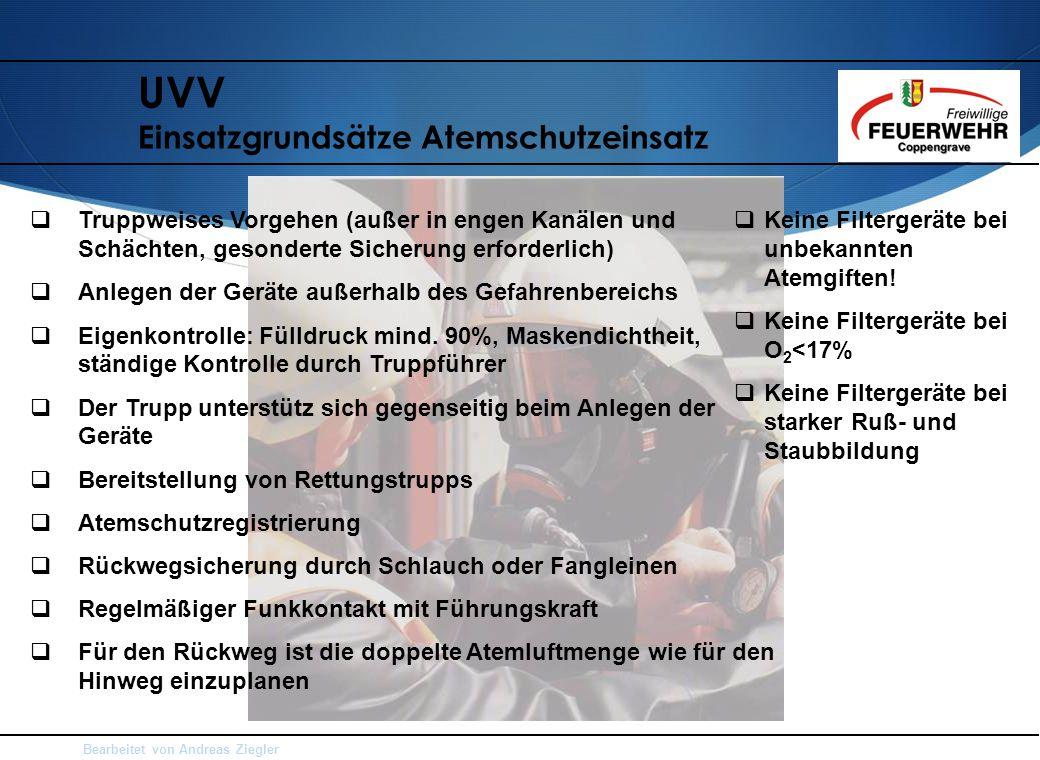 UVV Einsatzgrundsätze Atemschutzeinsatz