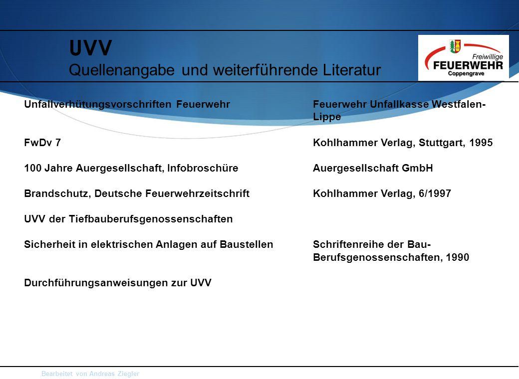 UVV Quellenangabe und weiterführende Literatur