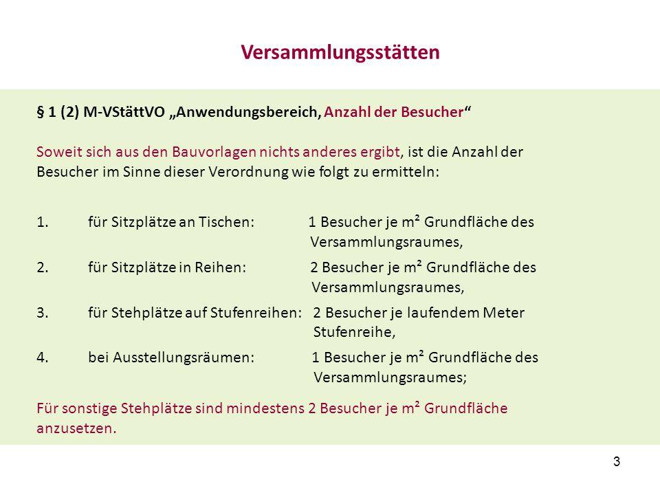 """Versammlungsstätten § 1 (2) M-VStättVO """"Anwendungsbereich, Anzahl der Besucher"""