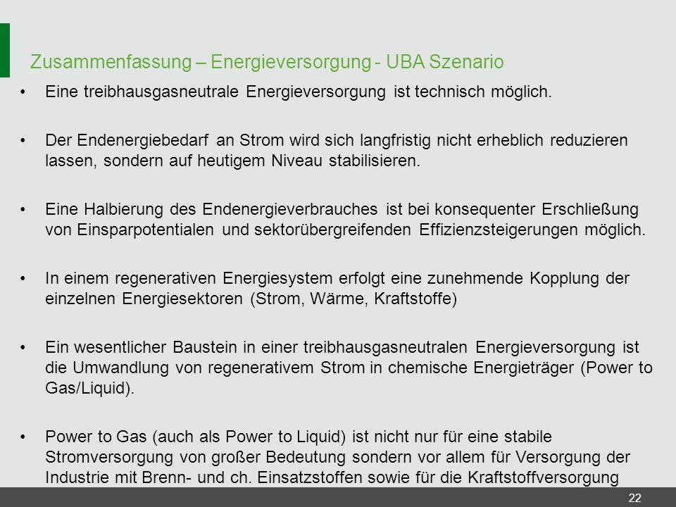 Zusammenfassung – Energieversorgung - UBA Szenario