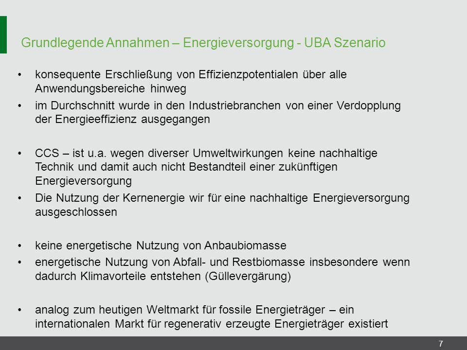 Grundlegende Annahmen – Energieversorgung - UBA Szenario
