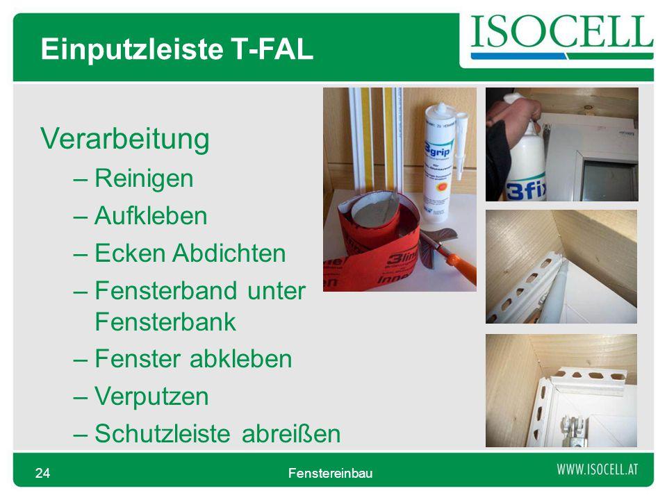Einputzleiste T-FAL Verarbeitung Reinigen Aufkleben Ecken Abdichten