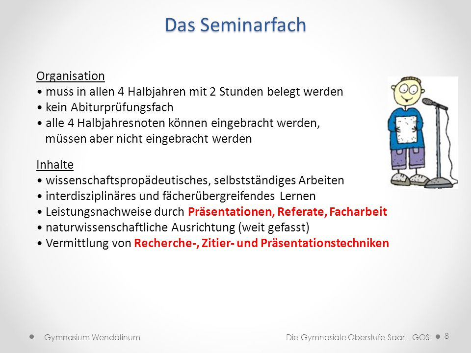 Das Seminarfach Organisation