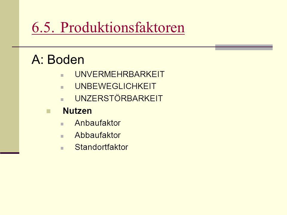 6.5. Produktionsfaktoren A: Boden Nutzen UNVERMEHRBARKEIT