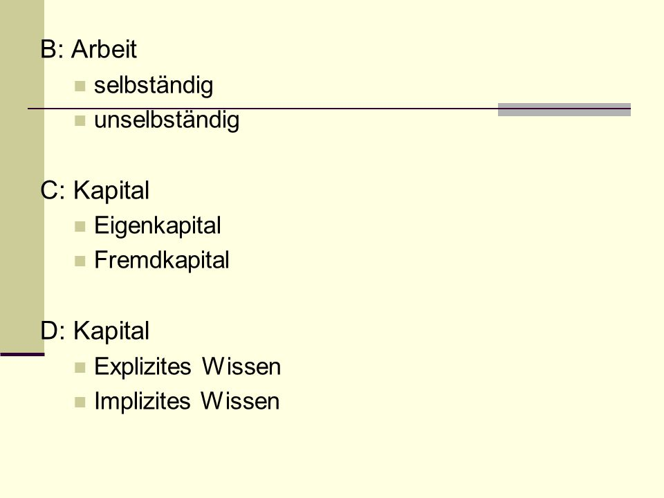 B: Arbeit C: Kapital D: Kapital selbständig unselbständig Eigenkapital