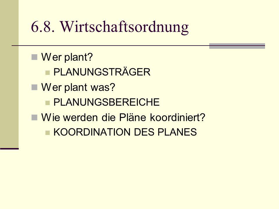 6.8. Wirtschaftsordnung Wer plant Wer plant was